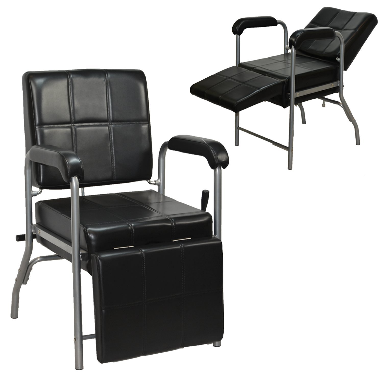 LCL Beauty Black Deluxe Reclining Shampoo Chair with Legrest