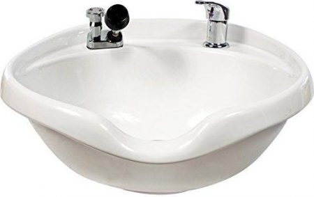 Kaemark (White) Wall Mount Porcelain Extra Wide Shampoo Bowl