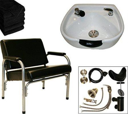 LCL Package with Auto Reclining Shampoo Chair and White CERAMIC Shampoo Bowl