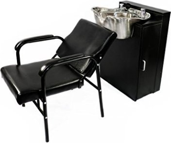 Round Polished Stainless Steel Shampoo Bowl + Floor Cabinet & Chair TLC-1368FC-216